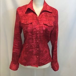 Erin London Red Button Up Blouse